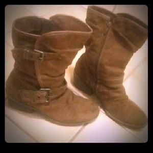 Shoes - Zip-Up Brown Boots With Buckles